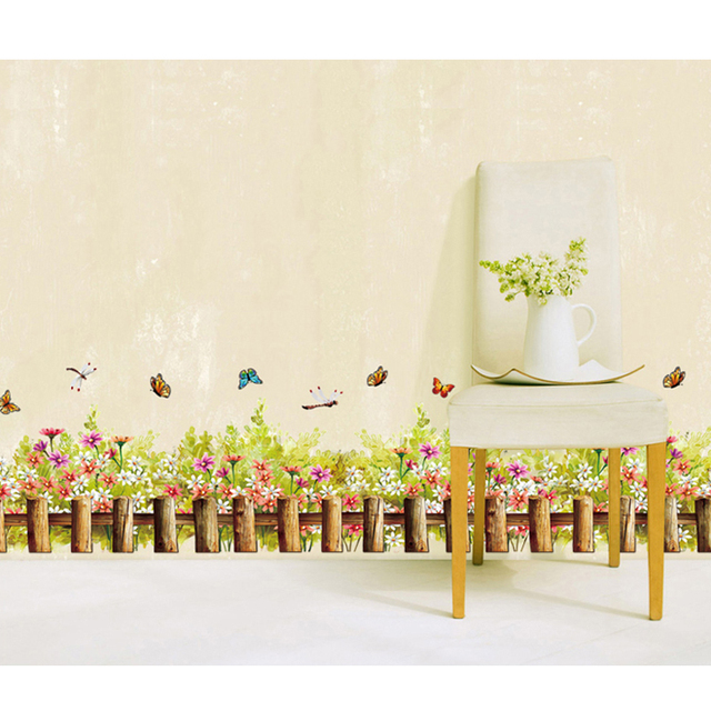 Fragrant Flowers And Colorful Butterfly Wall Decal Home Sticker ...