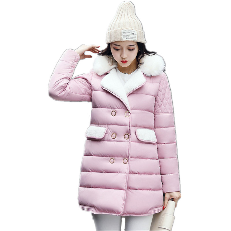 Winter New Korean Women Lamb Hair Jacket Female Mid Long Plus Size Thick Wadded Cotton Casual Warm Double Breasted Coat MZ1737 2018 new fashion suede lamb wool women coats double breasted warm solid thick long overcoat casual winter cotton jackets female
