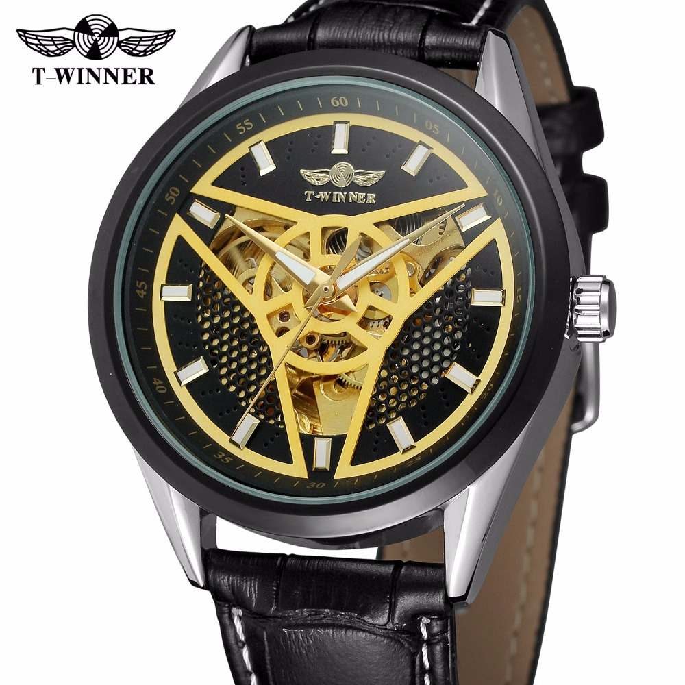 Fashion WINNER Top Brand Racing Sport Watch Men Auto Mechanical Golden Triangle Dart Skeleton Dial Genuine Leather Wrist Watches