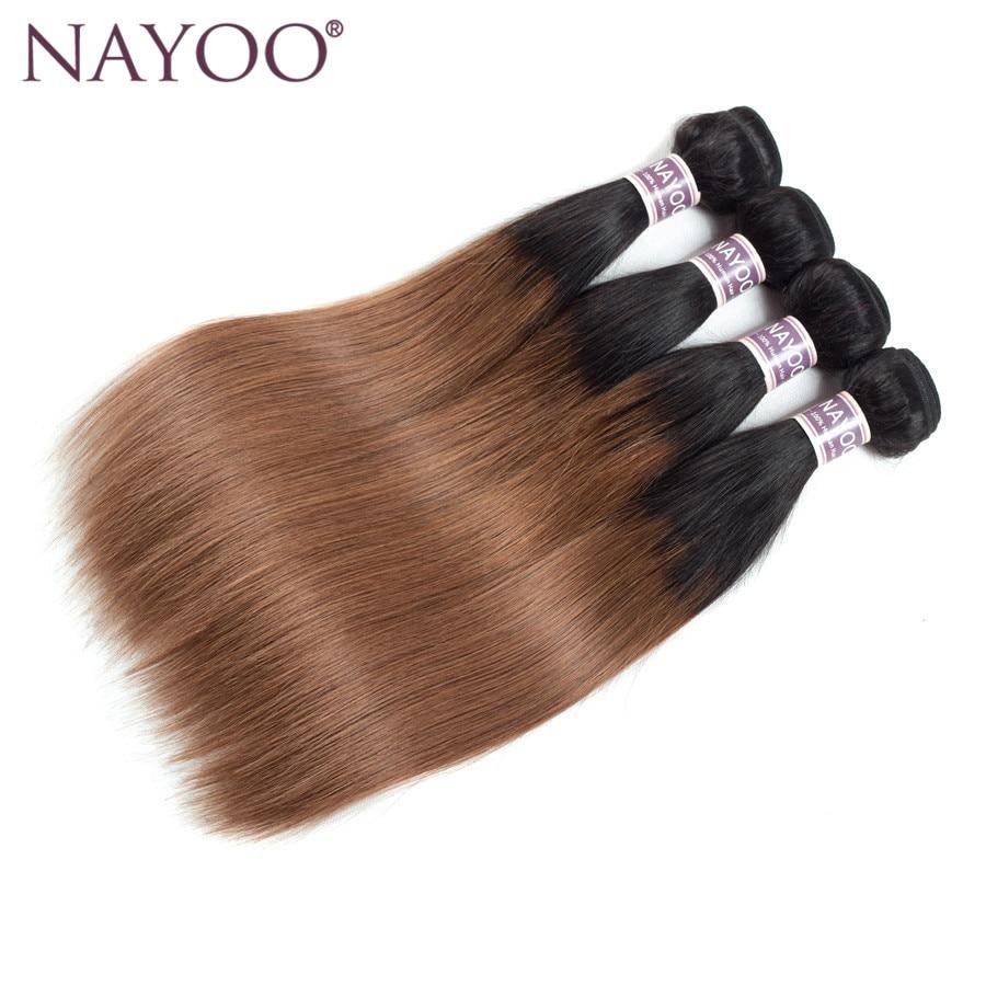 NAYOO Ombre Peruvian Straight Färgade Non-Remy Human Hair Weave - Mänskligt hår (svart) - Foto 2