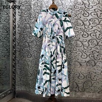 100%Cotton Dress 2019 Summer Casual Party Women Chic Print Tunic Buttons Half Sleeve Mid Calf Length Fashion Dress Vestidos