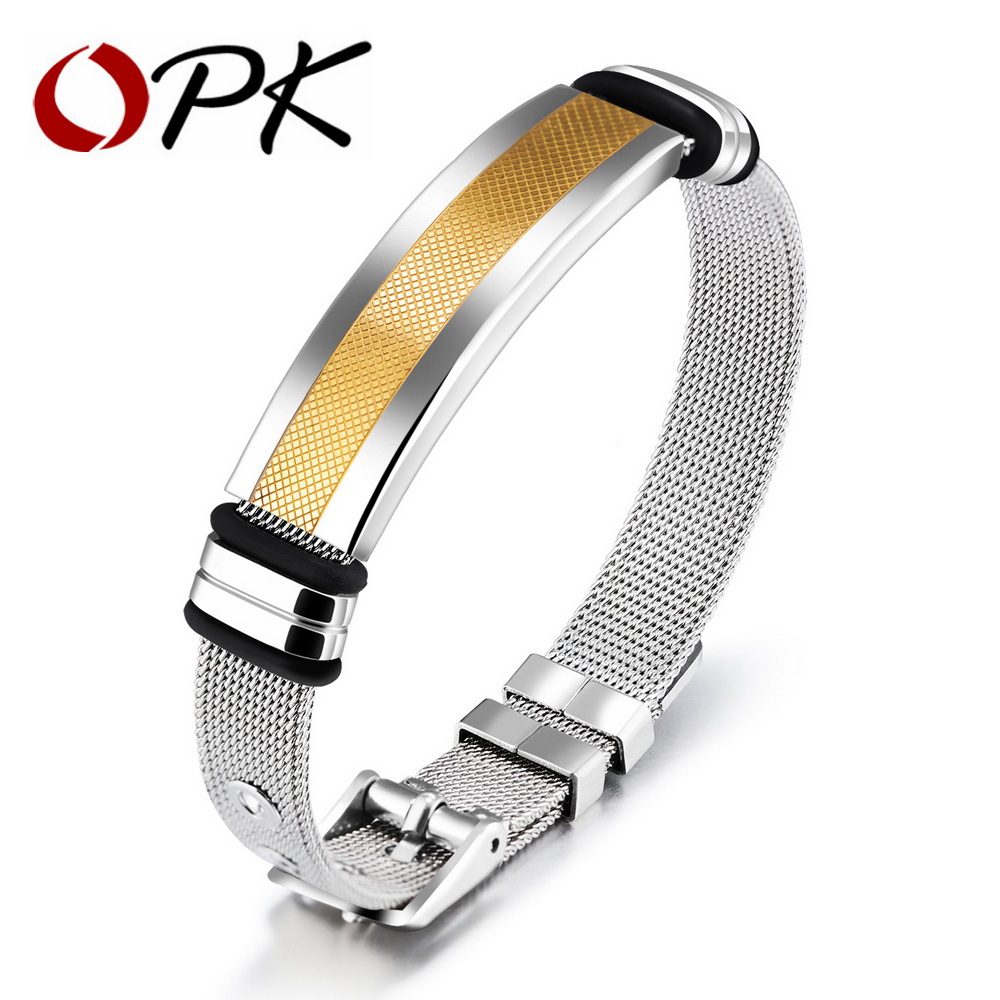 OPK Simple Bracelet For Men Mesh Strap Band Perimeter 16.5-21 CM Black/ Gold Color Stainless Steel Male Wrap Bracelets GH877 opk punk cross bracelet for men length 16 5 21 cm mesh strap band stainless steel black gold color male wrap bracelets gh878