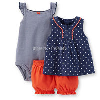SSS3-023,Original, New Collection, Baby Girls 3-Piece Bodysuit & Short Set, With Cute Print, Free Shipping