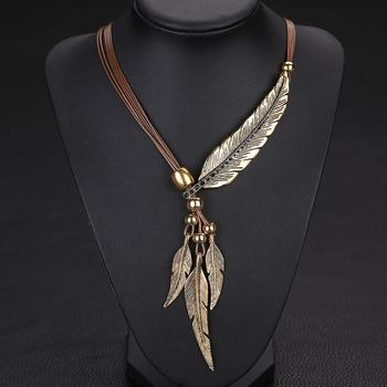 2018   The Newest Trendy Alloy Feather Antique Vintage Time Necklace Sweater Chain Pendant Jewelry  Popular Style Pretty Girl