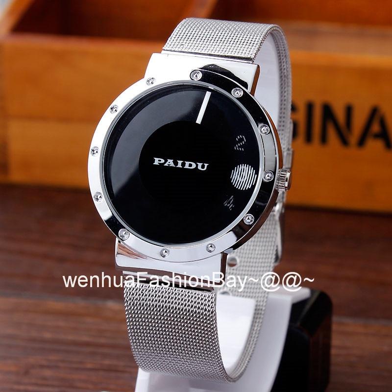 Paidu Simple Black White Metal Iron Mesh Steel Turntable Dial Wrist Watch Men Women Girl Lady