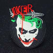Heath Ledger Coringa Pulaqi Remendo Do Punk Bordado Patches Para Roupas Tarja Crachá de Ferro Sobre Patches Para Vestuário Filme Dark Knight(China)