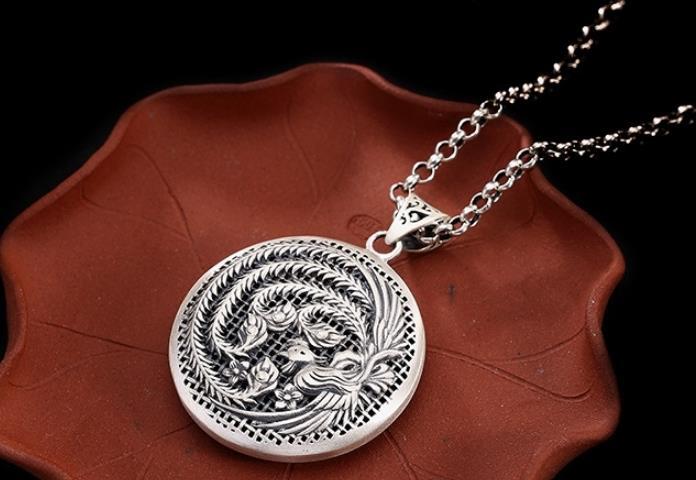 Sterling S990 990 pendentif en argent charme évider Phoenix ethnique vintage collier