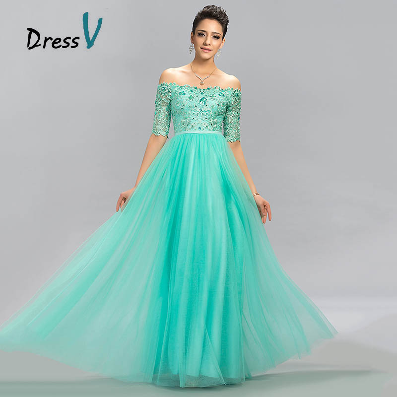 ffd139ba02c9 Dressv 2016 Mint Green Tulle Long Evening Dress Sexy A Line Off The Shoulder  Lace Half Sleeves beading Floor Length Prom Dress-in Evening Dresses from  ...