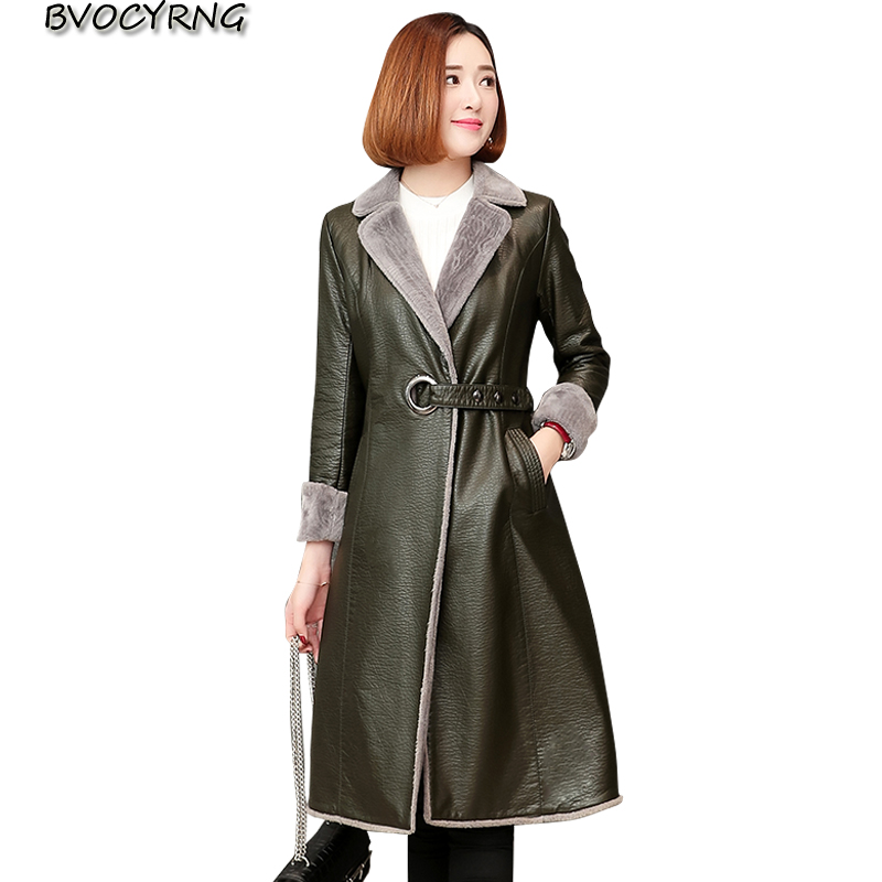 Fashion coat   leather   women long 2018 autumn and winter new thick lambskin jacket female high-end large size winter   leather   parka