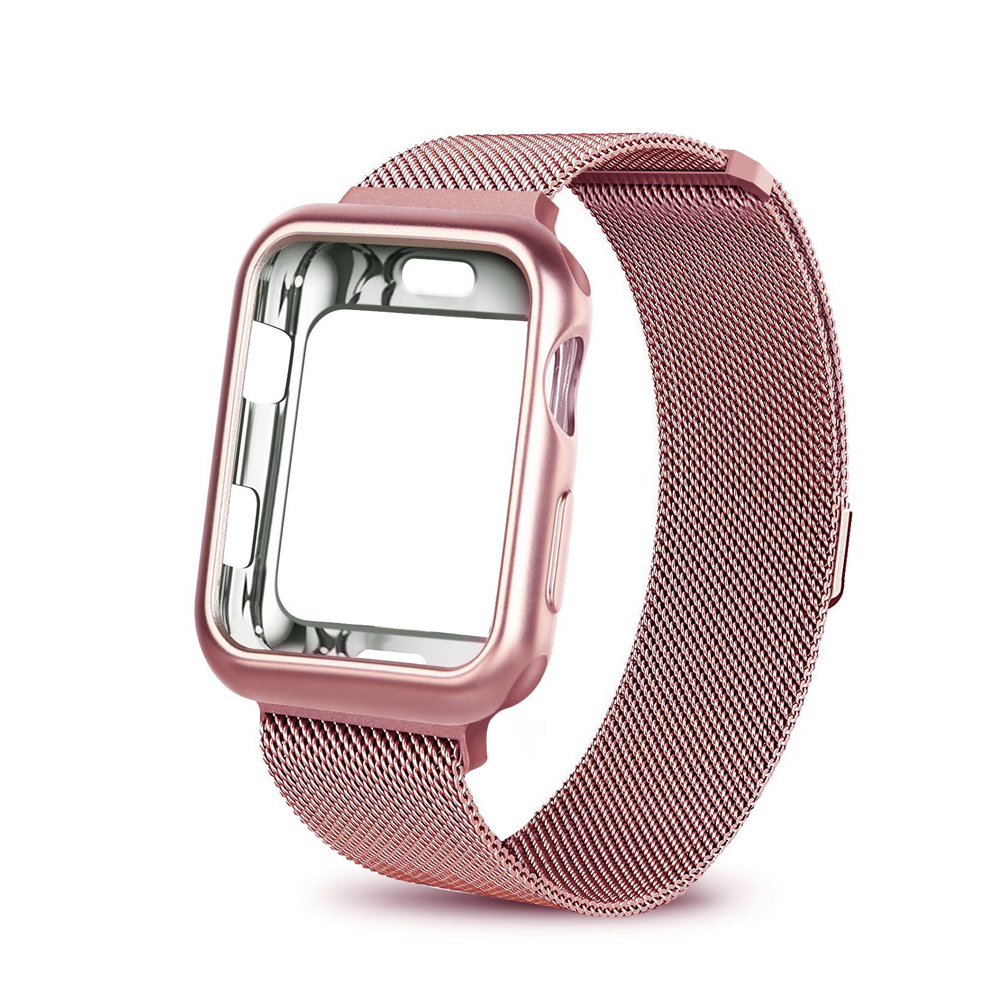 Fall + strap für Apple Uhr Band 4 42mm 38mm 44mm 40mm iwatch 3/2 /1 correa Edelstahl Mesh Milanese Schleife metall armband