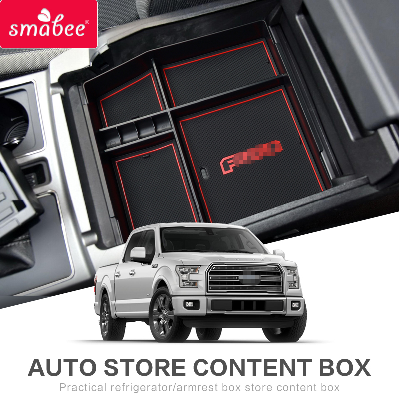 ZUNDUO CAR Armrest Box Storage For FORD F150 RAPTOR 2015-2018 XLT LARIAT LIMITED PLATINUM Box Stowing Tidying ABS+PVC