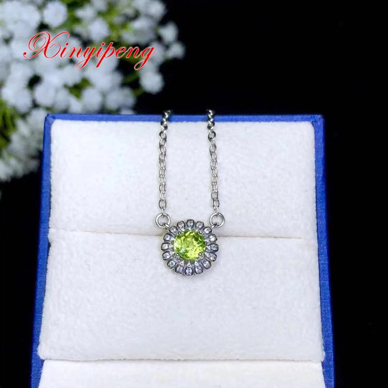 Xin yi peng 925 argent plaqué or blanc incrusté péridot naturel collier femmes beau anniversaire cadeau d'anniversaire