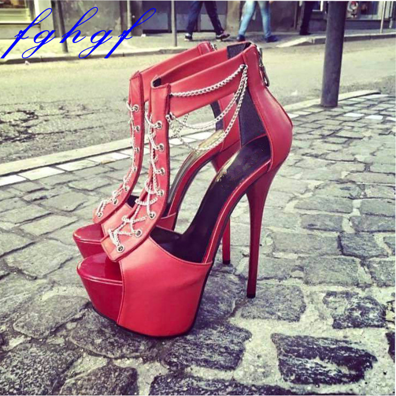 Fghgf 2018 NEW Women s sandals 16cm and high red chain sexy sandals for weddings and