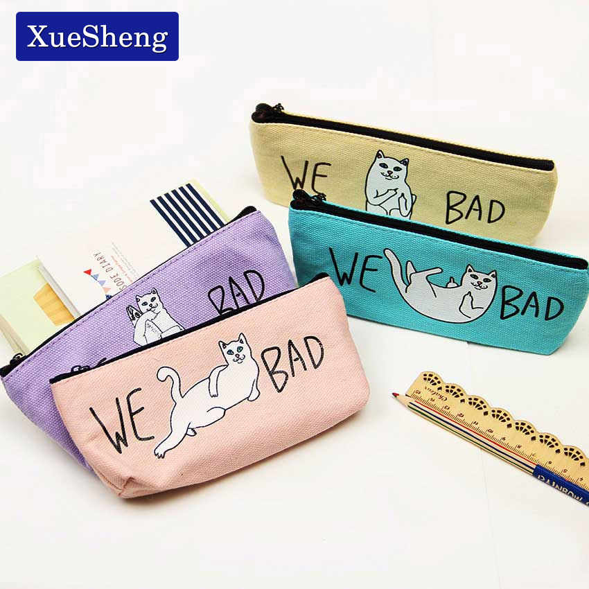 1PC Pencil Case Canvas School Supplies Kawaii Stationery Gift School Cute Pencil Box Pencil Bag