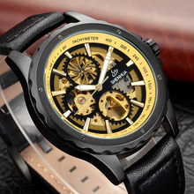2018 Steampunk Gear Dial Bronze Retro Skeleton Watches Male Automatic Mechanical Leather Men's Wrist Watches Relogio Masculino