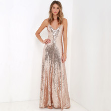 Spring and summer fashion normic paillette spaghetti strap full dress racerback sexy formal dress banquet free