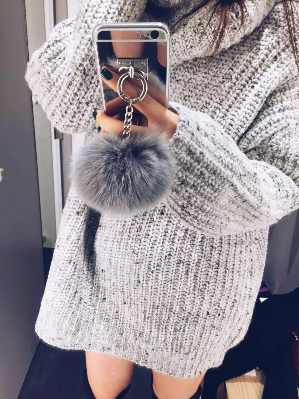 Dower Me Rabbit Fur Ball Tassel Mirror Case For Iphone <font><b>X</b></font> 8 6 6S 7 Plus 5S 4S Samsung Galaxy Note 8 5 <font><b>4</b></font> <font><b>3</b></font> S5/<font><b>4</b></font>/<font><b>3</b></font> S8/7/6 Edge Plus