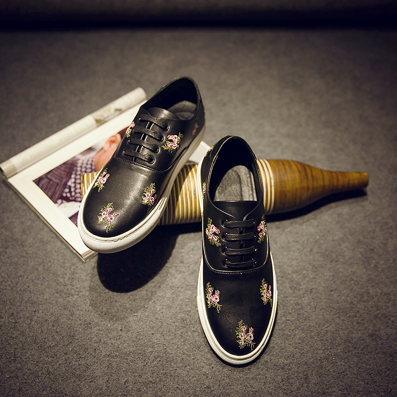 ФОТО 2016 new fashion printed men shoes Spring Flats Genuine Leather casual shoes lace-up Korean shoes