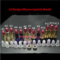 13 designs DIY Lipstick Mould 12.1mm Ring Easy Make Chapstick Moulding,Lipstick Filling Silicone Mould and Ring
