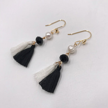 Kara&Kale Boho Fashion Jewelry Black and white Tassel Glass Beads Fresh Water Pearl Drop Earings Gold Earrings For Women ED004