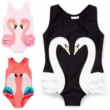 Летний детский купальник для маленьких девочек, Лебединое бикини, Цельный купальник, купальные костюмы, детские купальники