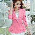 2016 Primavera Jaqueta de manga comprida outerwear Terno feminino Coreano Elegante flounce Mulheres casaco blazer projeto Curto cor de Doces Casuais