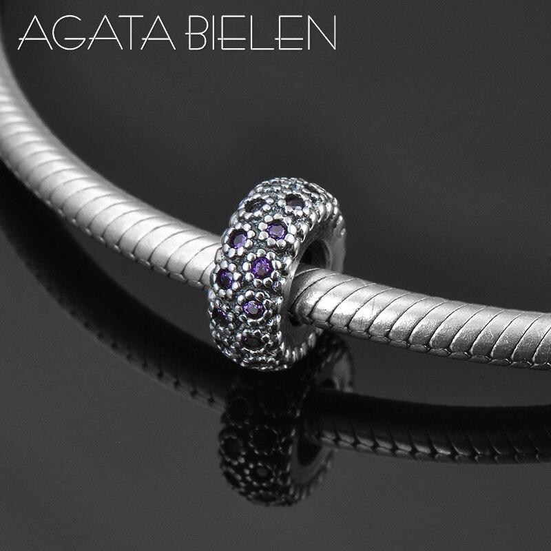 2018 New 925 Sterling Silver DIY purple CZ round shape fine spacer Bead Fit Original Pandora Charm Bracelet Jewelry making