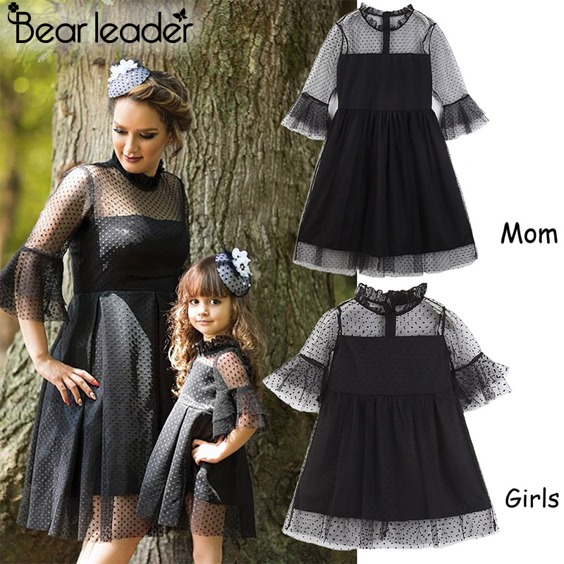 Bear Chief Lace Costume Spring Household Matching Outfits Mom And Daughter Black Costume Lace Attire With Bell Sleeve