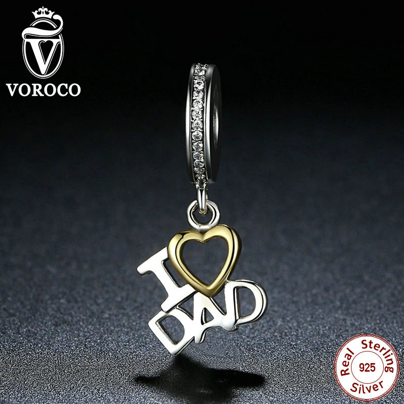 VOROCO 1 pcs 100 925 Sterling Silver I Love DAD Love Heart Pendants fit Pandora Charms