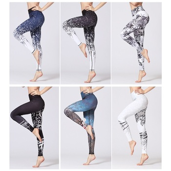 2019 Slim Fitness Yoga Pants Training Leggings Gym Sport High Waist Tights Running Jogging Tummy Control Printed Trousers 1