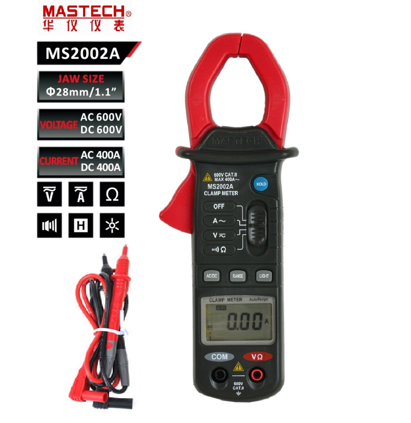 Digital Clamp Meter MASTECH MS2002A 4000 count display 3 3/4 Mini 600V/400A AC current Autorange DC voltage Resistance tester mas tech pro mini mastech ms3302 ac current transducer 0 1a 400a clamp meter test hot sales