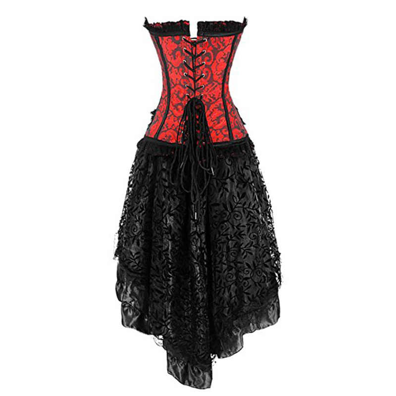 Черный Corpetes E Corselet вечернее платье с корсетом платье в викторианском стиле сексуальное готическое белье корсеты и бюстье Бурлеск Корсетная юбка комплект