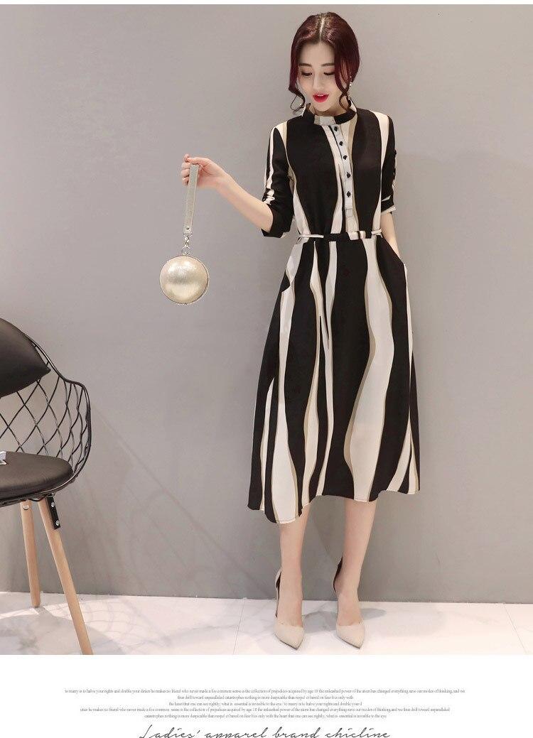 2017 Plus Size Women Dresses women's self cultivation slim waist Chiffon striped black white Dress geometric striped dress S 2XL