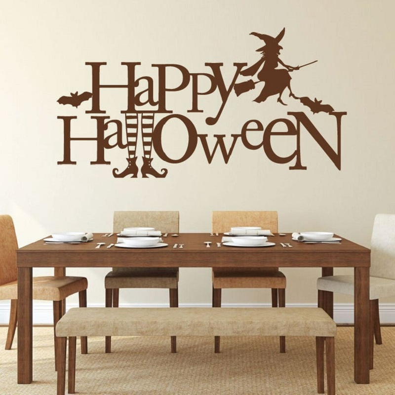 Witch wall decals Halloween decorative vinyl stickers Decals for home, bedroom, living room or front door decoration  WSJ03-in Wall Stickers from Home & Garden