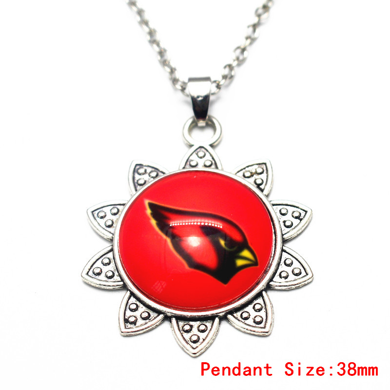 1pcs 20 Inch Chains Necklace Vintage Flower Print Football Arizona Cardinals Pendant Necklace For Men Sports Necklace Jewelry