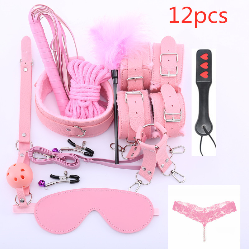 Sex accessories for female men leather bondage gag sex mask rope whip sex handcuffs fur BDsM nipple clamps bell