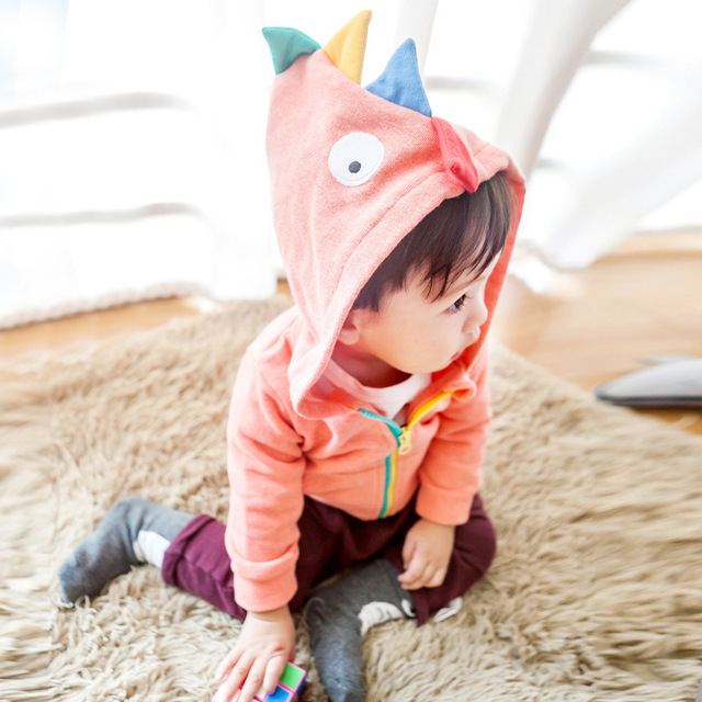 Baby Clothes ins Hot Design Novelty Dinosaur Modeling Zipper Hoodie Boys And Girls Fashion Tops Toddler Autumn Jacket