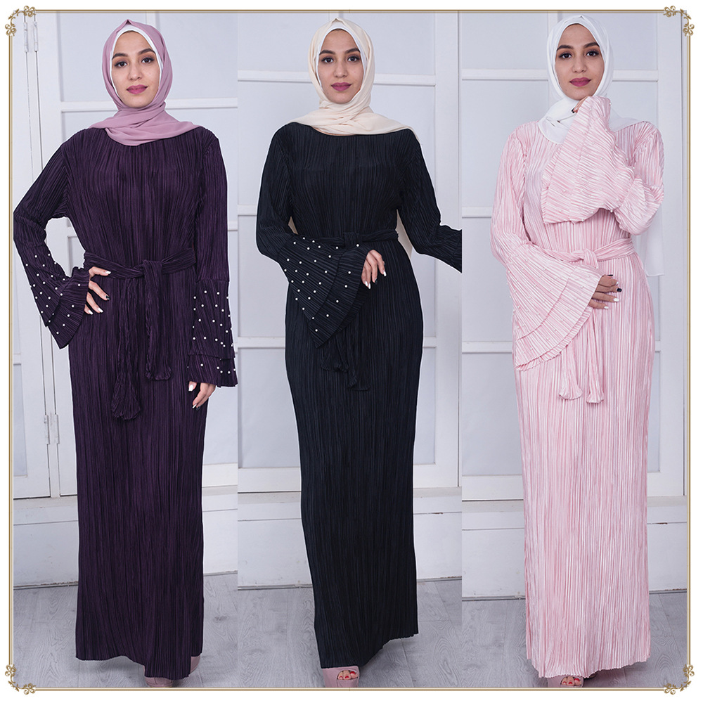 366229e11f91a Detail Feedback Questions about Women Muslim Abaya Dress Flare Sleeve  Pleated Turkey Dubai Long Abaya Dress Robe musulmane longue Saudi Arabia  Islamic ...