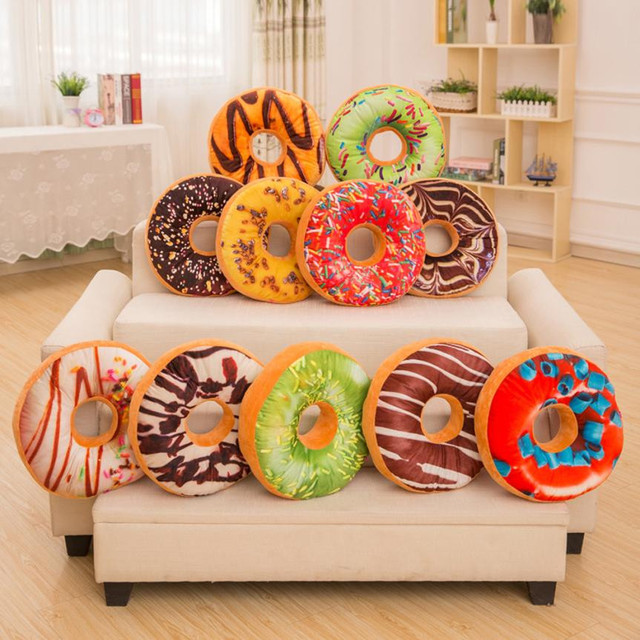 Pizza desert print Doughnut cushion case cover Cake meat food prints round circle dounut pillow cover pillowslips 40cm drop ship
