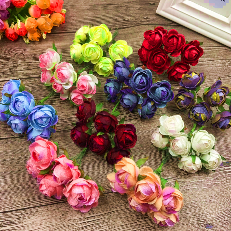 6 PCS (3 cm/a) artificial mini silk cloth tea buds fake flower bouquet home garden decoration wedding wreath of DIY gift box