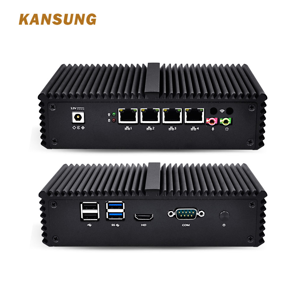 4 Lan Mini PC Windows PFsense Firewall Fanless Micro PC Linux Computer Intel Core I5 I3 Barebone Industrial Computer