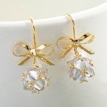 цены Fashion Luxury Earring for Women Crystal Ball Bow-knot Geometric Hanging Dangle Earrings 2019 New Gold Drop Earrings Jewelry