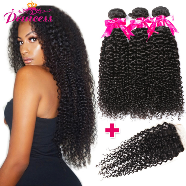 Beautiful Princess Brazilian Kinky Curly Hair Bundles With Closure
