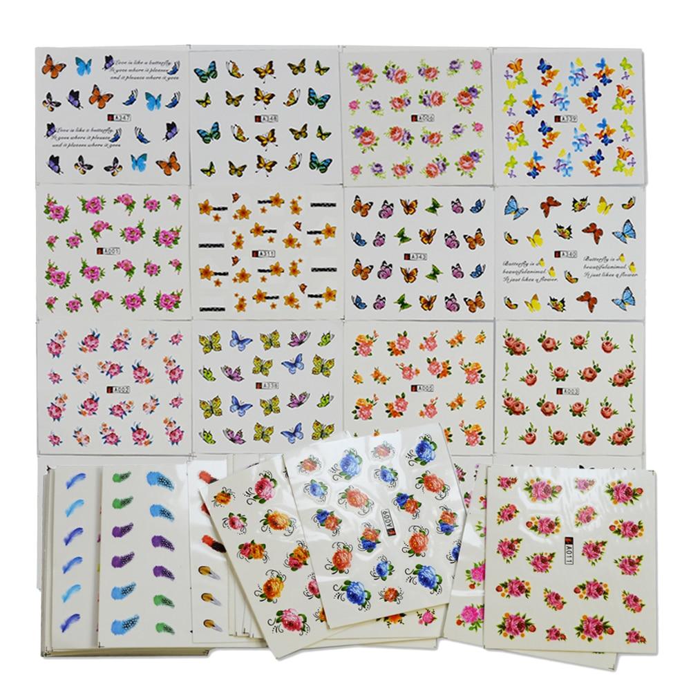 50 sheets random designs water transfer nail stickers sets for Random diys
