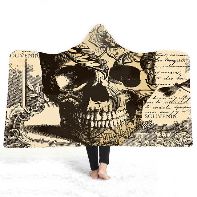 3D SKULL VINTAGE HOODED BLANKET