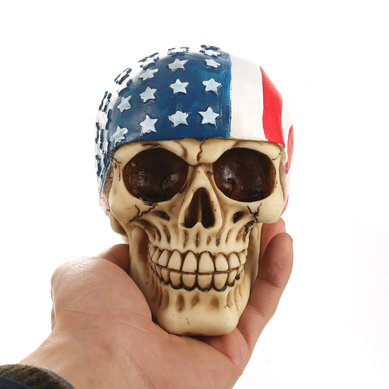 Home Decor New Resin American Flag Skull Statue Halloween Sculpture Home Office Desk Decor Toy Birthday Gift Halloween Party Decoration To Enjoy High Reputation At Home And Abroad