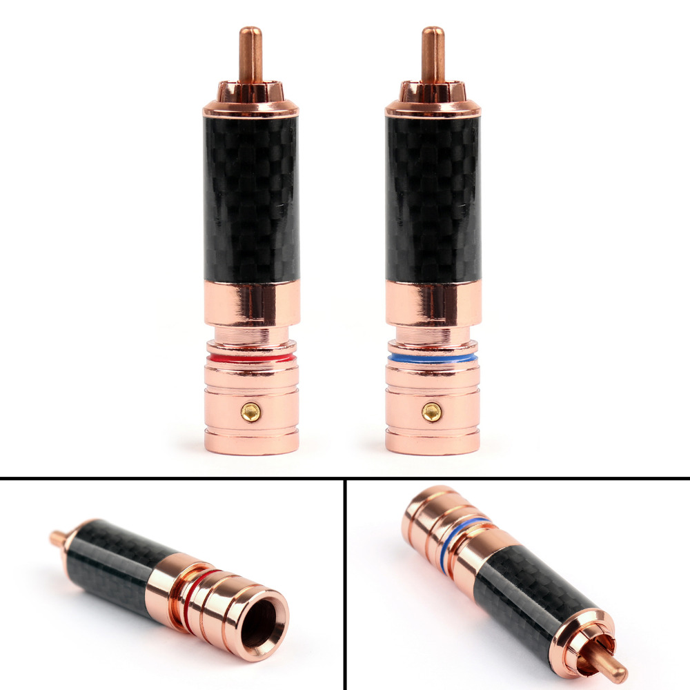 Areyourshop RCA Plug Connector Copper Carbon fiber RCA Plug Jack Gold Plated Audio Connector 1/4 Red
