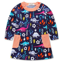 spring autumn Girls dress for girl cotton casual girl dress Long sleeve print princess pattern