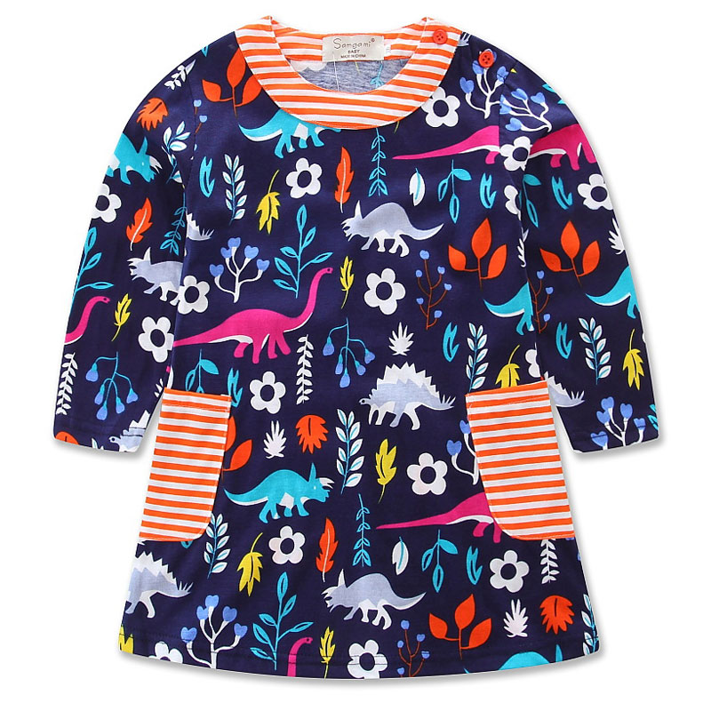 Nov 11 2017 spring and autumn dress for girl cotton casual girl dress full sleeve print
