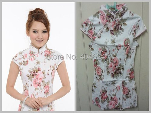 867746fe39d Dropshipping! New Style Gorgeous Traditional Chinese Cheongsam Qipao Top  Floral Print Cotton T Shirt Blouse 3 Color S XL Size-in Tops from Novelty    Special ...